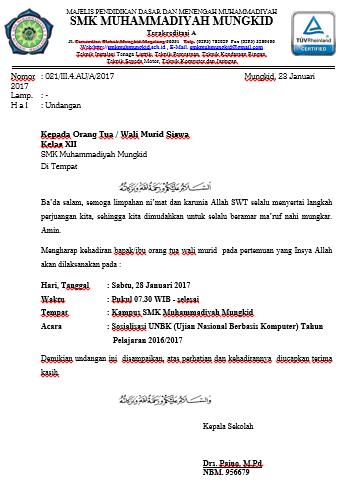 Undangan Wali Murid Sosialisasi Unbk 2017 Smk Muhammadiyah Mungkid